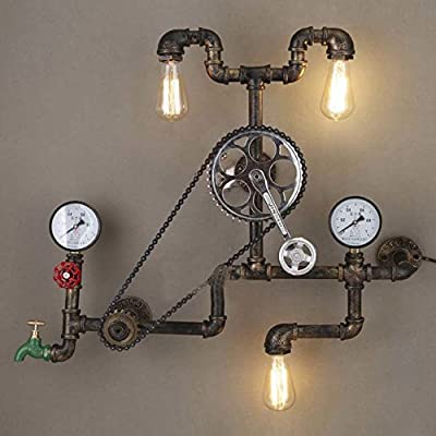"""Industrial Retro Vintage Style Farmhouse Industry Steam Punk Wall Sconce - LITFAD 29.13"""" Antique Bronze Three Light Water Pipe Wall Light with Bicycle Shape"""