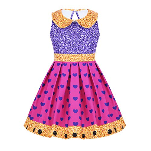 FEESHOW Girls Kids LOL Doll Surprise Princess Fancy Dress Halloween Cosplay Costumes Party Outfit Purple&Rose Red 7-8