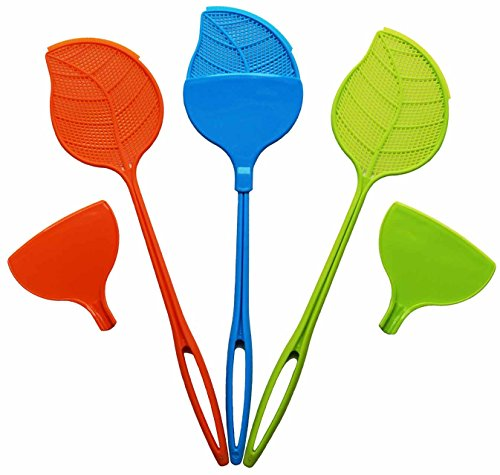 HomeWorthy Swat & Sweep Fly Swatter 3 Pack with Heavy Duty Plastic Handle and Detachable Dust Pans for Sanitary Bug Cleanup -