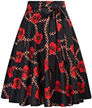 Belle Poque Women's High Waist A-Line Pockets Skirt Skater Pleated Midi S