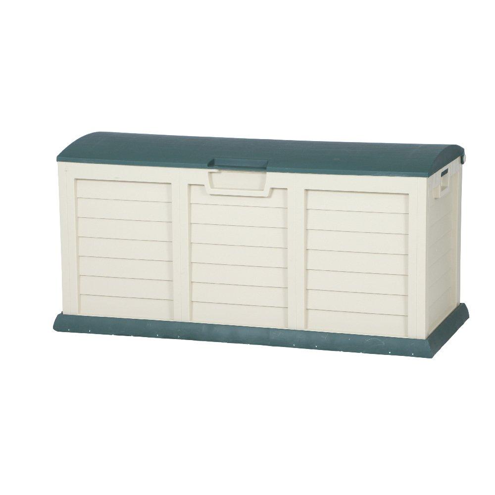 XXL Auflagenbox   Gartenbox   Kissenbox beige grün ca. 141,5 x 61,5 x 68 cm