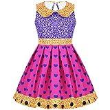 inlzdz Kids Baby Girls Doll Surprised Tutu Dress Sparkle Digital Printed Ballerina LOL Cosplay Fancy Costume Purple&Rose Red 7-8