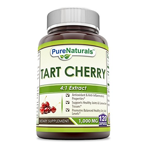 Pure Naturals Tart Cherry 1000 Mg 120 Capsules -Supports Healthy Joints & Connective Tissues -Promotes Balanced Healthy Uric Acid Levels -Anti-oxidant & Anti-inflammatory Properties