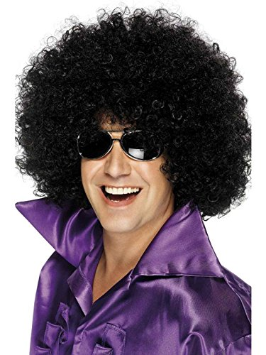 Adult Afro Wig (Smiffy's Mega Huge Afro Wig, Black, One Size)