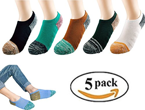 Wummly Mens No Show Socks Anti-slid Athletic Cotton Low Cut Invisible Sock ( pack of 5)