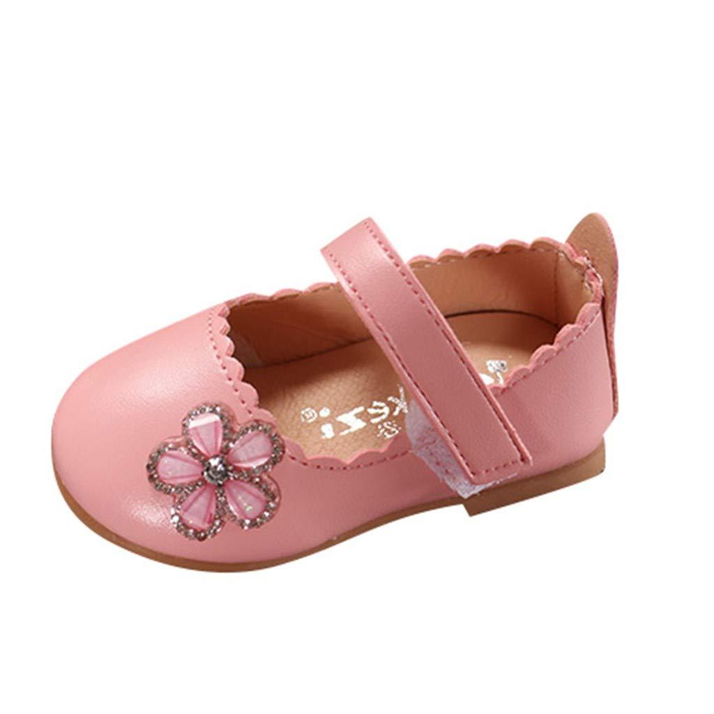 Little Girls Princess Shoes,Jchen Baby Kids Little Girl Elegant Crystal Flower Single Princess Soft Casual Shoes for 0-4 Y (3 M US Toddler, Pink)