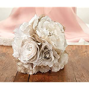 Lillian Rose Rustic Country Wedding Burlap Flower Bouquet 2