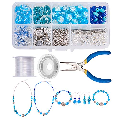 SUNNYCLUE 700+ pcs Jewelry Making Starter Kit Beading Kits Flat Round Foil Glass Beads, Gemstone Beads, Pliers, Elastic Thread, Tiger Wire for DIY Necklace Bracelet Earrings Making Set, Color 1