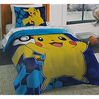 Pokemon Pikachu Twin Single Comforter & Sheets, 4 Piece Bed in A Bag, New! + Homemade Wax Melts: Home & Kitchen