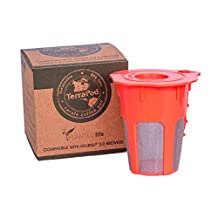 TerraPod reusable carafe coffee cup, fits Keurig 2.0 K300, K400, K500 brewers, orange K-cup with stainless steel mesh