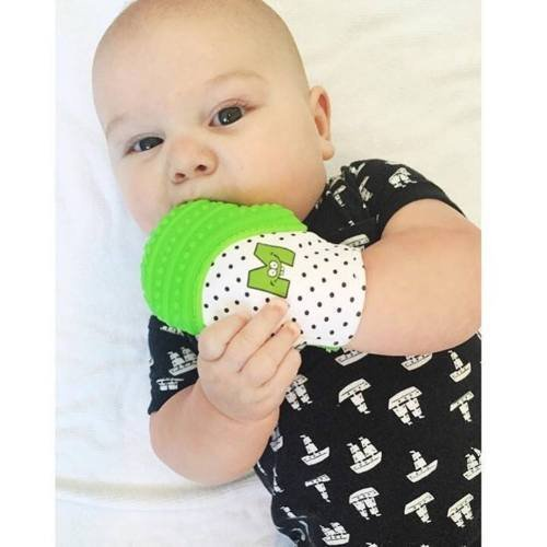 Munch Mitt Teething Mitten is Teether That Stays on Baby's Hand for Self-Soothing Pain Relief, Green from Munch Mitt