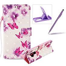 Rope Leather Case for Samsung Galaxy S9 Plus,Wallet Leather Case for Samsung Galaxy S9 Plus,Herzzer Stylish Luxury 3D Special Effects [Butterfly Flower Pattern] Bookstyle Premium Smart Magnetic Full Body Soft Rubber Flip Stand Case with Card Holder Slots