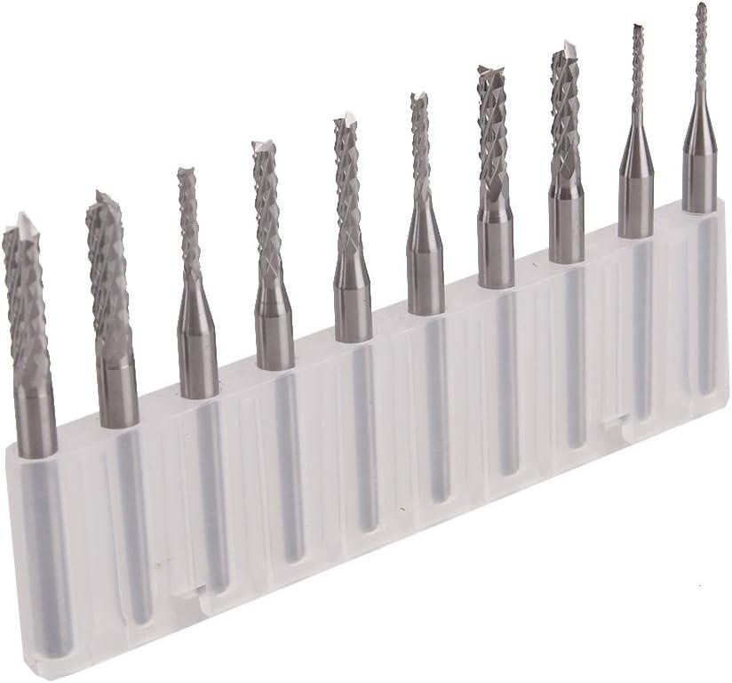 10PCS In 1 Set 0.3//0.4//0.5//0.6//0.7//0.8//0.9//1.0//1.1//1.2MM-Carbide Steel Milling Cutter-1//8 Shank End Mill Engraving Bits-For PCB CNC SMT