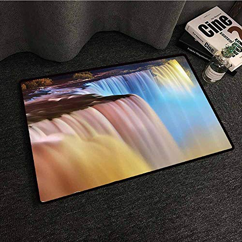 Waterfall Decor Collection Interior Door mat Niagara Falls Lit by Colorful Lights Night View Waterfall Picture Suitable for Outdoor and Indoor use W35 xL59 Ivory Yellow Blue (Niagara Falls Waterfall)