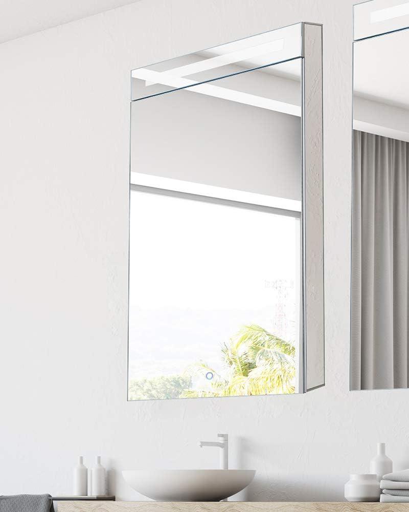 Fine Fixtures - Armario de baño para Medicina (Aluminio, Empotrado/Montaje en Superficie, Interior espejado con LED): Amazon.es: Hogar