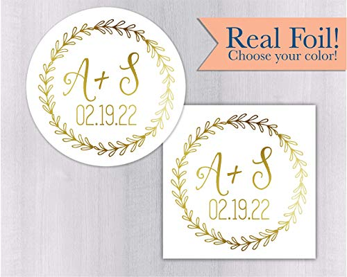 Save the Date Initials Color Foil Wreath Envelope Seals/Stickers for Wedding Invitations or Favors (#274-F)