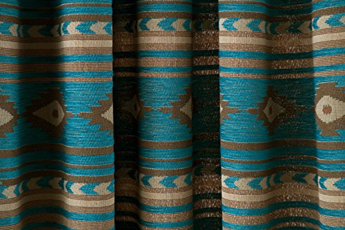 """North End Décor Turquoise Coronado Southwest Chenille Room Darkening Curtain Panels, 2 Panels (48"""" x 84"""" each) Included"""