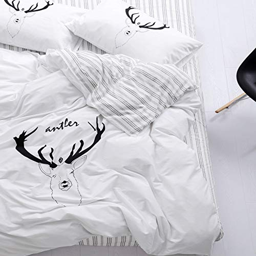 - Trasign Twin Duvet Cover Set Kids Cotton Duvet Comforter Cover Striped with Deer Printed for Boys Girls, Zipper Closure,  2 Pillowcases (Deer, Twin)