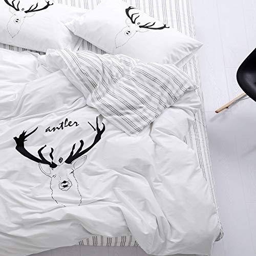 (Trasign Twin Duvet Cover Set Kids Cotton Duvet Comforter Cover Striped with Deer Printed for Boys Girls, Zipper Closure,  2 Pillowcases (Deer,)