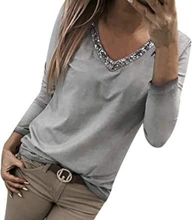 Femme Bouton Col V à manches longues Pull Tops Blouse Pullover Pull