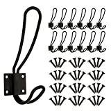 12 Pieces Black Big Wall Mounted Rustic Hook Robe Hooks Double Coat Hangers and 48 Pieces Screws (Black)