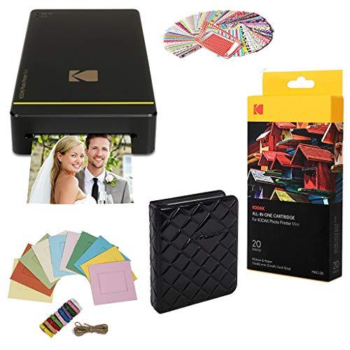 Kodak Mini Printer Gift Bundle (Black) + Paper + Case + Photo Album + Hanging Frames + Sticker Frames (Frame Wireless Picture Kodak)