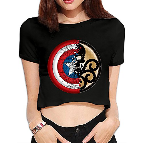 Asdf666 Women's Captain America Broken Shield Loose Exposed Navel T (Navel Shield)