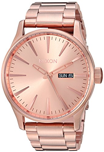 Nixon Men's 'Sentry SS' Quartz Stainless Steel Casual Watch, Rose Gold, (Model: A356897)