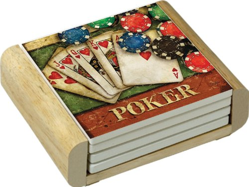 CounterArt Absorbent Coasters in Wooden Holder, Poker Design, Set of 4