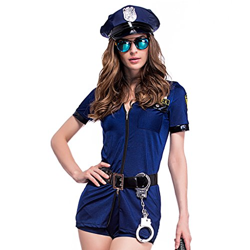 Colorful House Women's Black Police Officer Uniform Costume With Handcuffs Belt Hat (X-Large, Blue)]()