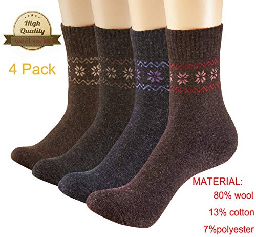 Wool Socks Womens Thick Warm Socks Hiking Knit Socks Casual Socks For Women Skiing Hiking Cycling Outdoor 4 Pack