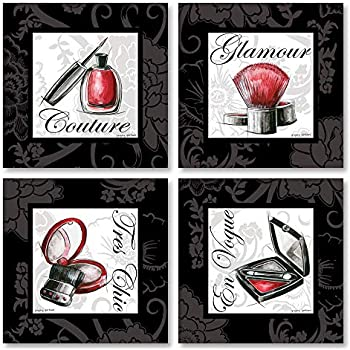 Gango Home Decor Makeup Bag I French Glamour, Tres Chic, En Vogue and Couture Signs; Four 12x12 Poster Prints. Red/Black/White