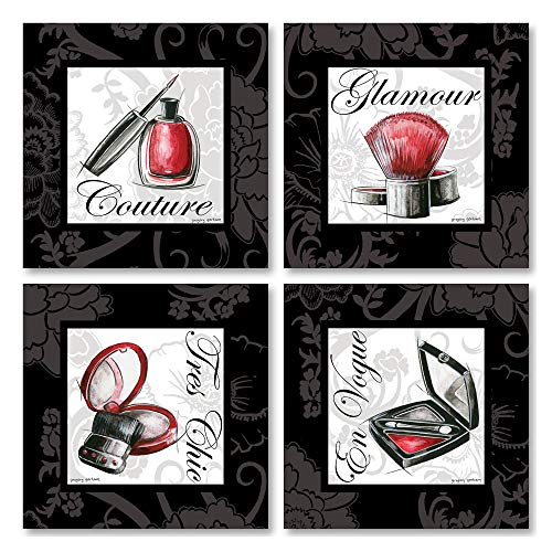 (Gango Home Decor Makeup Bag I French Glamour, Tres Chic, En Vogue and Couture Signs; Four 8 by 8-Inch Mounted Prints; Ready to Hang! Red/Black/White)