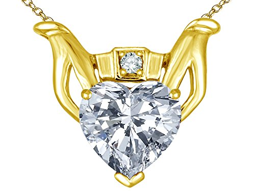 (Star K Claddagh Love Pendant Necklace with 8mm Heart Genuine White Topaz 14 kt Yellow Gold)