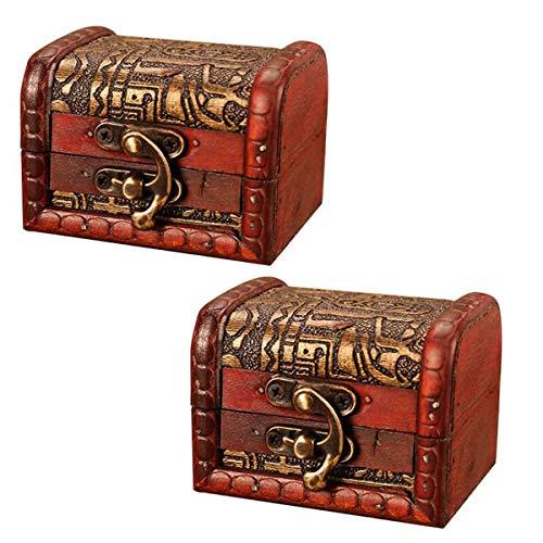 OBTANIM Vintage Small Jewelry Boxes, 3 Inch Handmade Wooden Storage Box with Metal Lock Treasure Organizer Gift Box, Set of 2 (Lock Set Jewelry Box)