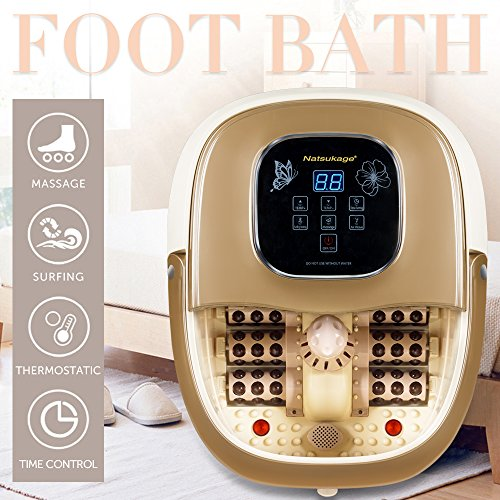 Natsukage All in One Luxurious Foot Spa Bath Massager Motorized Rolling Massage Heat Wave Digital Temperature Control LED Display Fast US Shipping (Type 4) ()