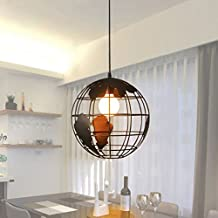 SOUTHPO Vintage Globe Chandeliers Ceiling Lights Dining Room Creative Iron Earth Edison Pendant Light Fixture Retro Loft Round Spherical LED Hanging Lights Antique 1×E26 MAX 40W Ø11.8 inches (Black)