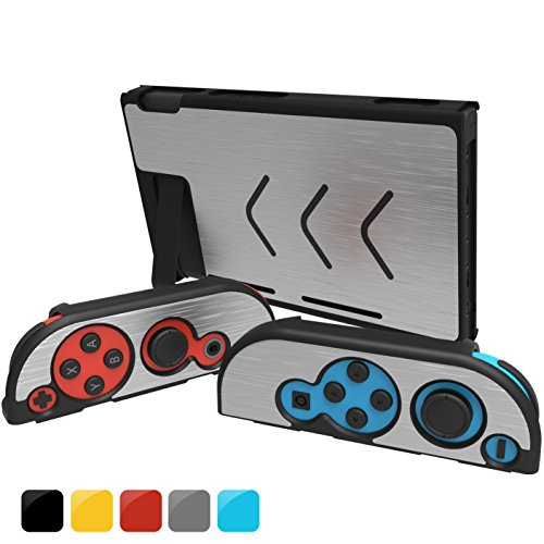 GH Nintendo Switch Case Cover & Joy Con Cover , Slim Aluminum [Snap on] Hard Switch Shell for NS Console & Joy Con Controllers 2017 Release (Silver)