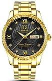 Men's Analog Luminous and Bezel Inlay Rhinestones Fashion Business Automatic Mechanical Calendar Watch (All Gold-Black)