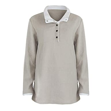e0cf1240b50082 Amazon.com: vermers Women Button Down Fleece Coat Pullover Tops, Womens  Casual Long Sleeve Sherpa Sweatshirt Clothes: Clothing