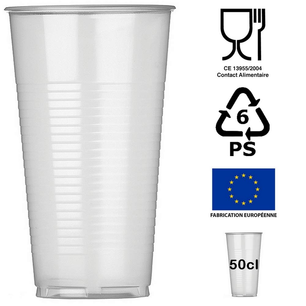CPR 50 Gobelets Jetables 50cl Plastique polypropyl/ène Transparent