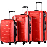 Merax Luggage 20 Inch 24 Inch and 28 Inch 3-Piece Suitcase Spinner Set (Red.)