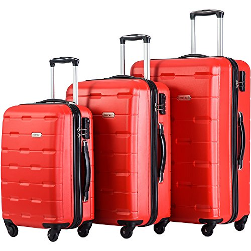 Merax Luggage 20 Inch 24 Inch and 28 Inch 3-Piece Suitcase Spinner Set (Red.) by Merax