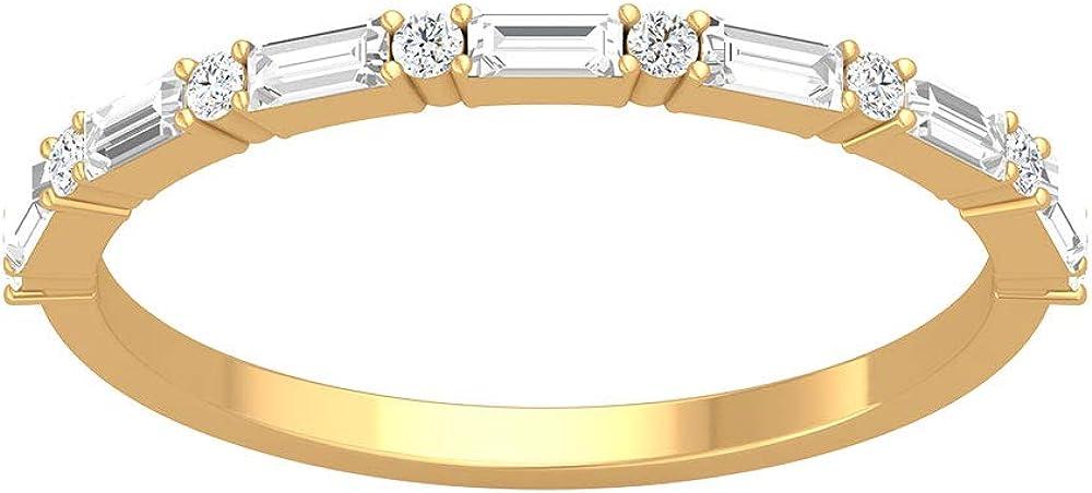 IGI - Anillo redondo de eternidad de diamantes con certificación Baguette, IJ-SI de amor eterno, anillo de aniversario de boda, apilamiento a juego, anillo de promesa para el día de la madre