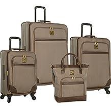 Anne Klein Vicenza 4 Piece Luggage Set, Brown/Grey