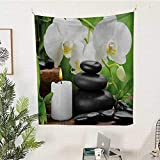 magnificent rustic outdoor kitchen ideas  Spa Rectangular Tapestry Zen-Hot-Massage-Stones-with-Orchid-Candles-and-Magnificent-Nature-Remedies Tapestry Throwing Blanket 54W x 72L INCHBlack-White-and-Green