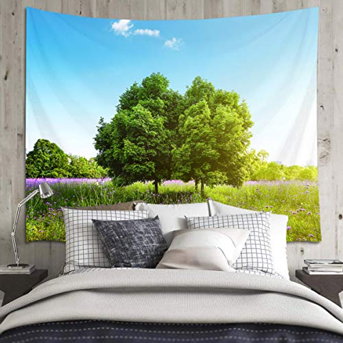 HVEST Woodland Tapestry Blue Sky Purple Wildflower and Green Grass Wall Blanket Natural Scenery Tapestries Sunny Summer Tapestry for Bedroom Living Room Dorm Wall Dinning Tablecloth,80Wx60H inches
