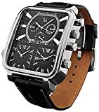 Carlien Men's Quartz Analog Watch Silver Square Case with 3 Time Zones and Black Band