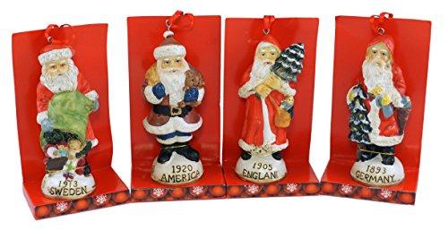 SJL Company Antique Santa Claus Ornament (Set of (Four Jolly Santa Ornaments)
