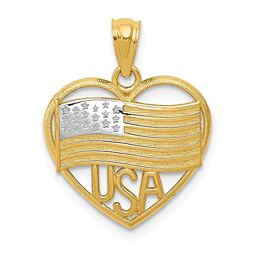 14k Yellow Gold American Flag Usa In Heart Pendant Charm Necklace Patriotic Fine Jewelry Gifts For Women For Her ()